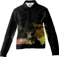 CARABOU I, Twill Jacket-1 created by atelier COLOUR-VISION | Print All Over Me  #art #printalloverme #women #animals #men #black #yellow #carabou #antler #collage #watercolors #jackets #twilljacket #piaschneider #clothing #wearableart #ateliercolourvision