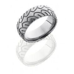 Titanium 8mm Wide Mens Domed Tire Tread Wedding Band