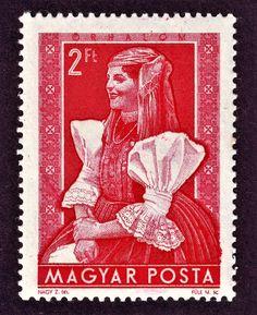 1953 2 forint Hungary, Third, Stamps, Europe, Art, Seals, Door Bells, Animal Drawings, Art Background