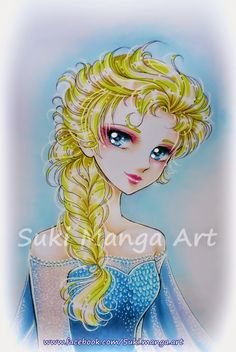 Copic Marker SpainFor the hair I used: E50-E21-Y11-Y06 For Skin: E000-R000-E00-E11-RV10-RV04 For the dress, eyes and background: B60-B000-B05-B12-B45-B99