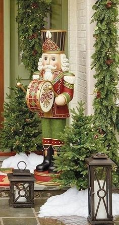 Standing nearly 5 feet tall, this stately nutcracker is dressed in his best uniform, complete with feathered hat and his drum at the ready. Crafted of polyresin with a handpainted finish, this nutcracker is adorned with multicolor LED lights that create a festive after-dark display.