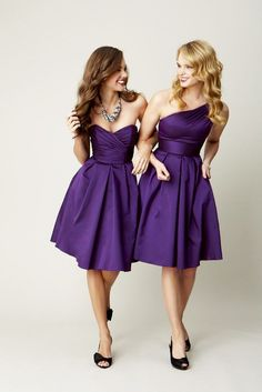 Stunning silky taffeta, short bridesmaid dresses - perfect for summer! | Kennedy Blue Claire & Paige