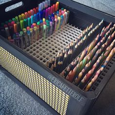 Found a solution for my pencils, markers, and pens. Found this box at…