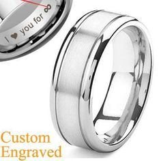 mens wedding band. Love the inscription