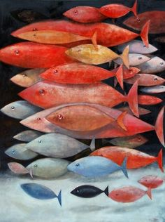 Christopher Dotson, School of mostly red fish (Oil on canvas 48″ X 36″)