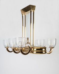 Art Deco Linear Chandelier, Circa 1920 from Remains Lighting