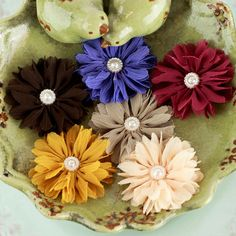 BRAND NEW - Cabaletta Collection  Fall Assorted Chiffon Mini Fabric Flowers with pearl center on Etsy, $4.89