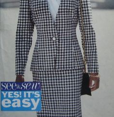 Uncut Pattern Butterick 6459 Misses Jacket Skirt Blouse See & Sew Easy Size 12 14 16