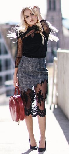#spring #outfits Black Blouse & Grey Lace Skirt & Black Pumps
