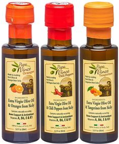 Papa Vince flavored olive oil - Chili, Tangerine, Orange. High polyphenols & vitamins, single estate, early harvest Unfiltered, Unblended, first cold press made by our family in Sicily, Italy