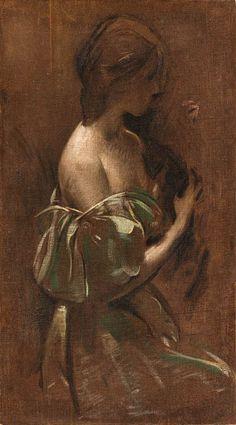 John White Alexander (1856-1915) Portrait d'une femme dans une robe hors de l'épaule avec de l'huile de chat sur toile