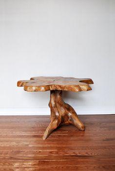 Vintage Live Edge Side Table / Wood Slab Table (Jess & Charlotte - Etsy)