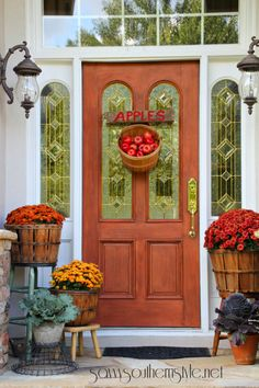 When it comes to curb appeal, your front door is prime real estate. This year, create an eye-catching display by forgoing a classic wreath for a creative seasonal display, like an apple basket.  See more at Savvy Southern Style.  MORE: 12 Festive Fall Door Decorations That Aren't Wreaths   - CountryLiving.com