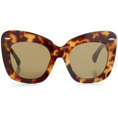 f38d047380 Linda Farrow x Erdem Tortoiseshell Oversized 24 C3 Cat Eye Sunglasses  ( 365) ❤ liked