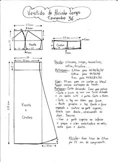 Esquema de Modelagem do Vestido de Alcinha tamanho 36.