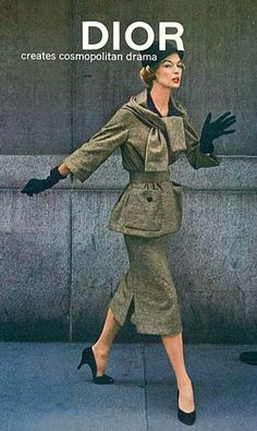 1957 Jean Patchett in brown striped worsted jersey suit by Christian Dior-New York Collection