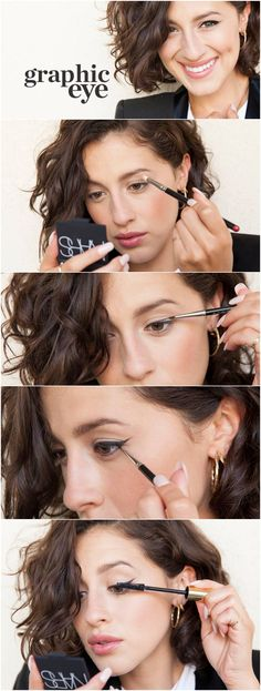 How To: Graphic Cat Eye (love her hair too!)
