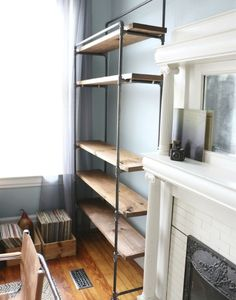 7 Excellent Clever Ideas: How To Decorate Floating Shelves Closet floating shelf bookcase wall colors.Floating Shelves Above Couch Small Spaces floating shelf bookcase wall colors.Floating Shelves With Tv Floors. Pipe Bookshelf, Diy Pipe Shelves, Industrial Pipe Shelves, Floating Shelves Kitchen, Industrial Interior Design, Industrial House, Pipe Shelving, Industrial Style, Wall Shelves
