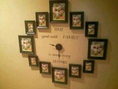A new way to display pics and tell time. I definitely want this clock on my living room wall! -via Heather Tate, Uppercase Living Representative Picture Clock, Photo Clock, Picture Wall, Picture Frames, Display Family Photos, Family Pictures, Family Clock, Picture Arrangements, Photo Displays