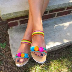 """""""MALDIVES"""" Our new Handmade to order, Greek Leather Platform sandals! Pom Pom and ethnic fabrics, order yours today at our store: https://www.etsy.com/listing/473220487/greek-sandals-pom-pom-sandals-ethnic?ref=shop_home_active_1"""