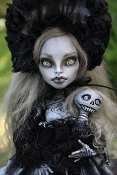 OOAK art doll Monster High custom repaint Victorian mummy by A. Gibbons horror