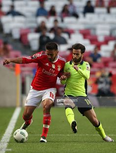 SL Benfica's midfielder from Argentina Salvio (L) with SC Braga's forward Rafa Silva (R) in action during the Taca CTT match between SL Benfica and SC Braga at Estadio da Luz on May 2016 in Lisbon, Portugal. Sc Braga, Action, Lisbon Portugal, Soccer, Running, Sports, Argentina, Fotografia, Hs Sports