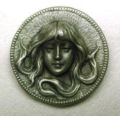 Vintage Metal Button Lovely Art Nouveau Woman Design   eBay