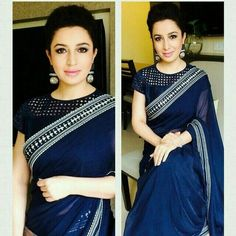 Blue borderd plain saree