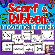 Scarf and Ribbon Movement Cards: Students LOVE to use scarves and ribbons in class! Start your choice of music and use these cards to guide students through creative dance. Movement Preschool, Movement Activities, Music Therapy Activities, Preschool Music Activities, Classroom Activities, Kindergarten Music, Teaching Music, Teaching Resources, Teaching Ideas