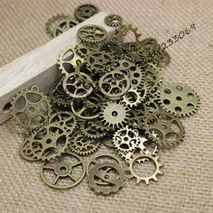 A grunge, neo-Victorian collection of gears, cogs and variety of wheels. This Steampunk inspired batch is all what you need to craft DIY vintage jewelry items like earrings, pendants, bracelets, neckl