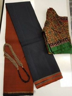 Buy online Sarees - Rust and black half and half kanchi silk saree from Aavaranaa Cotton Saree Blouse, Organza Saree, Saree Dress, Indian Dress Up, Indian Wear, Saree Models, Blouse Models, Kalamkari Saree, Indian Silk Sarees