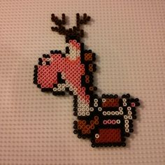 Pink Yoshi reindeer hama beads by kat_hamabeads