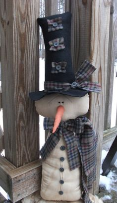 PrimiTive Folk Art WinTer grungy SNOWMAN DOLL by PrimsbyMelissa, $49.99