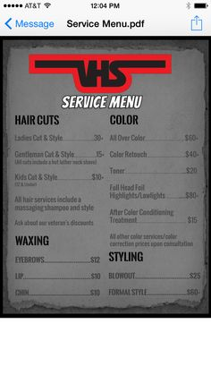 Salon service menu