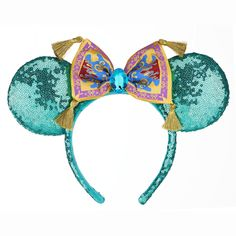 Top off your look in shining, shimmering, spendid style with this Minnie Mouse Jasmine Ear Headband, featuring ears inspired by the Aladdin princess complete with a tasseled magic carpet. Disney Ears Headband, Disney Minnie Mouse Ears, Disney Headbands, Disney Mickey Ears, Walt Disney, Ear Headbands, Mickey Ears Diy, Disney Parks, Micky Ears