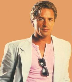 Don Johnson (Miami Vice). T shirt, casual shoes, smart jacket, candy pastels. This is where #sportsluxe is heading, you mark my words!
