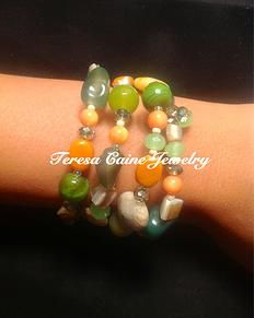 .  Our Melon Ball Stack Bracelet wraps around wrist 3-4 times depending on the size of the wrist and includes Green Agate, Cantaloupe Ceramic Beads, Mother of Pearl chips, Jasper, Crystal and Glass Beads $35.00