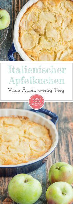 Ein fruchtiger, saftiger Apfelkuchen mit besonders viel Obst. Der italienische Apfelkuchen schmeckt sowohl lauwarm als auch kalt. Wer mag, gibt noch Gewürze und Rosinen dazu.