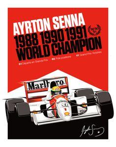 Ayrton Senna 1988, 1990, 1991 World Champion PosterSenna