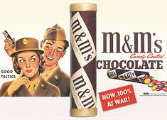 03 Mar 41: The Mars Company receives a patent for their process of producing M&M chocolate pellets within a candy shell which, during the war, will be exclusively sold to the US military. The Mars' Newark factory will produce some 200,000 pounds of M&Ms per week. More: http://scanningwwii.com/a?d=0303&s=410303 #WWII