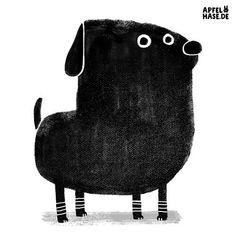 Apfelhase Illustration #100dayproject #100daysofweirddogs dog, Hund, illustration, black and white, schwarzweiß, Druck, screenprinting