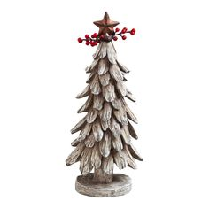 Cabin Christmas Tree Polystone Decor in Natural