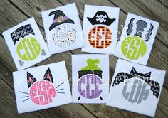 Halloween Monogram Toppers - T-Shirt or One Piece Bodysuit - Seven Styles to Choose From! Embroidery Monogram, Embroidery Applique, Embroidery Patterns, Machine Embroidery, Halloween Applique Designs, Halloween Designs, Halloween Make, Halloween Dress, Halloween Buckets