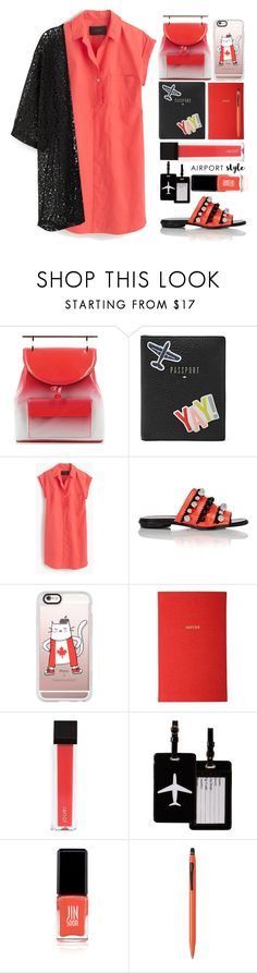 """""""Airport Style"""" by juliehalloran ❤ liked on Polyvore featuring M2Malletier, FOSSIL, J.Crew, Proenza Schouler, Casetify, Liberty, Jouer, TravelSmith, JINsoon and Cross"""