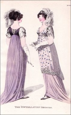 """Morning installation dress of royal purple and silver. The sleeves and back of white and silver silk, the sleeves festooned and ornamented with diamonds. The hair dressed with a bandeau of diamonds and white feathers. 1800s Fashion, 19th Century Fashion, Vintage Fashion, Jane Austen, Modest Dresses, Ball Dresses, Regency Dress, Regency Era, Vestidos"