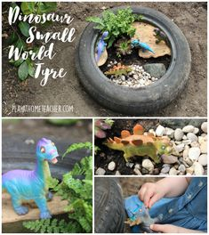 Eyfs Outdoor Area, Outdoor Play Areas, Dinosaur Small World, Small World Play, Dinosaur Activities, Dinosaur Crafts, Outdoor Activities, Dinosaur Garden, Outdoor Learning Spaces