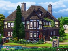 Tudor Farmhouse is a charming house in Tudor style built on 40x30 lot in Newcrest. Found in TSR Category 'Sims 4 Residential Lots'