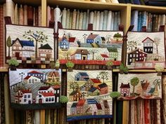 Quilt , Patchwork by Susana Cano Padilla Sampler Quilts, Scrappy Quilts, Mini Quilts, Patchwork Quilting, House Quilt Patterns, House Quilt Block, Applique Quilt Patterns, Map Quilt, Landscape Art Quilts