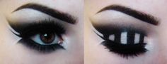 Whimsical black and white striped eyeshadow, eye makeup, winged eyeliner. Blending, airbrush effect/ look