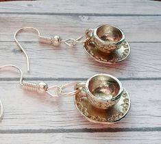 Teacup Earrings Tea Drinker Earrings Tea Drinker Gift Coffee Drinker Earrings Coffee Drinker Gift Cup and Saucer Earrings Tea Earrings by TwiggyPeasticks